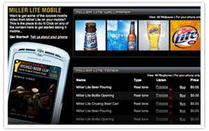 Miller Lite World Beer Cup mobile portal thumbnail
