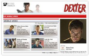 Showtime mobile Dexter landing page thumbnail
